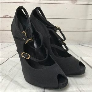 Dolce & Gabbana Black Heels Peep Toe 38.5 Italy